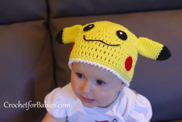 Free Crochet Pattern for Pikachu Beanie - CrochetforBabies.com